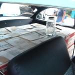 Mason jars in the back seat